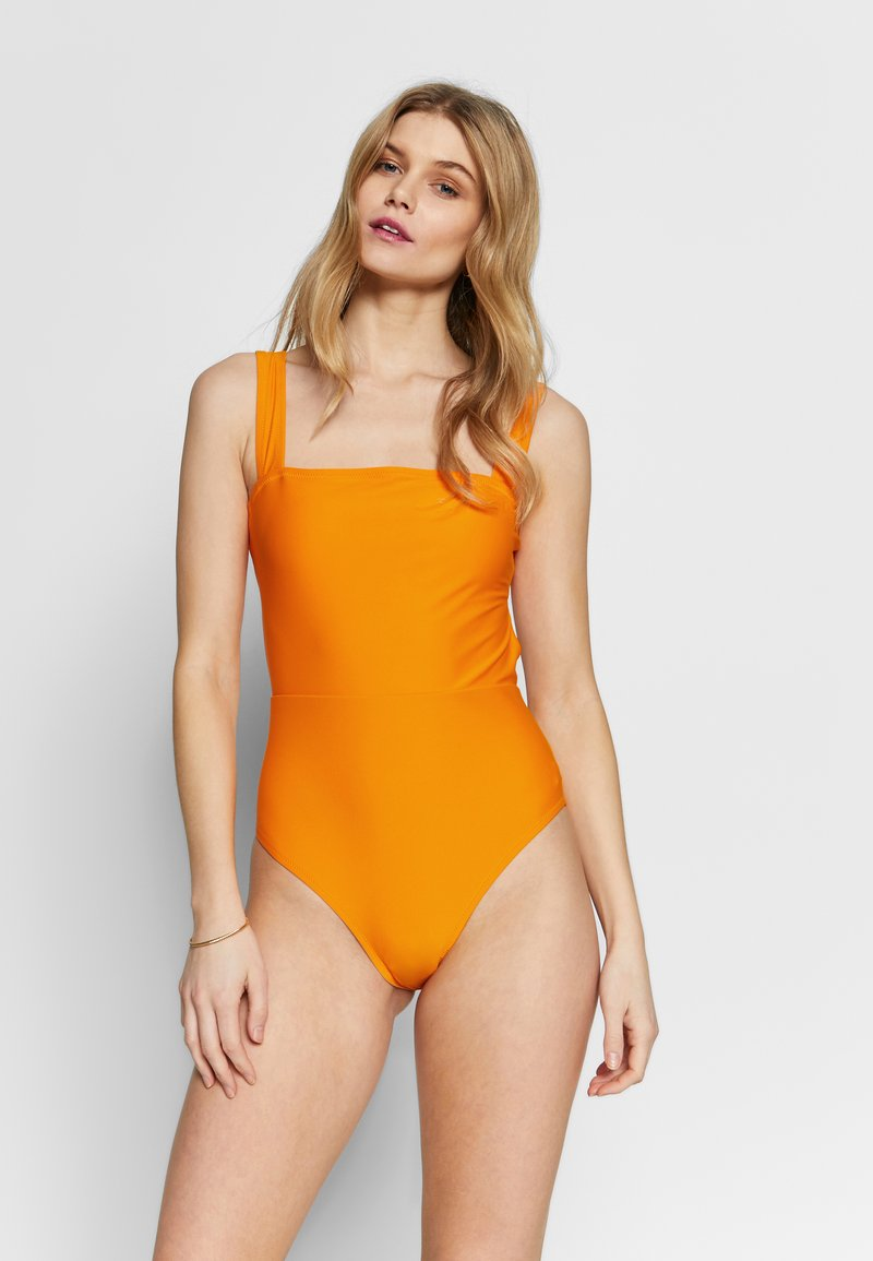 aerie - ONE PIECE CHEEKY V TIE SOLID - Badpak - mango