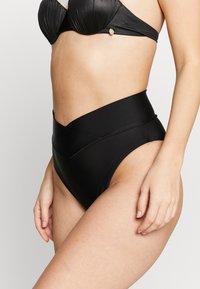aerie - V FRONT BANDED HI RISE HI CUT CHEEKY - Bas de bikini - true black - 0