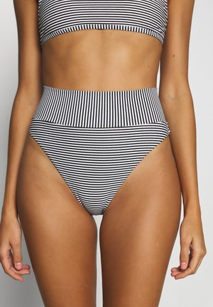 HI CUT CHEEKY PRINTED FEEDER STRIPE - Spodní díl bikin - true black