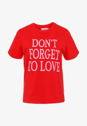 DONT FORGET LOVE - Print T-shirt - red
