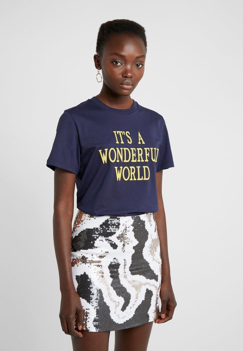 Alberta Ferretti - WONDERFUL WORLD - Print T-shirt - navy