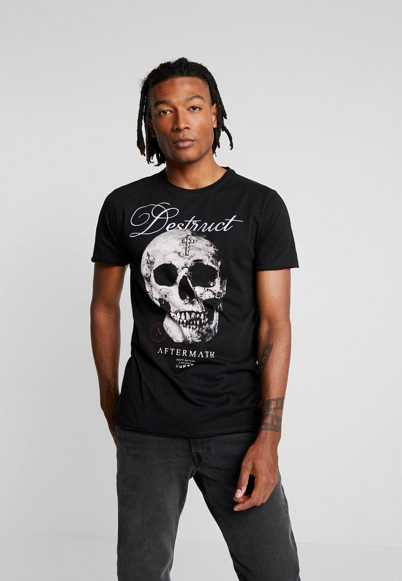 AFTERMATH - DESTRUCT SKULL PRINT - T-shirt con stampa - black