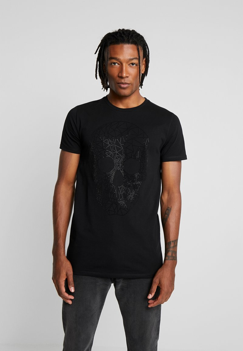 AFTERMATH - T-SHIRT WITH GEO SKULL - T-shirt con stampa - black