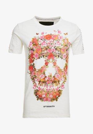 WITH FLORAL SKULL PRINT - Print T-shirt - ecru