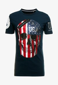 AFTERMATH - WITH USA PRINT  - T-shirt con stampa - navy - 3