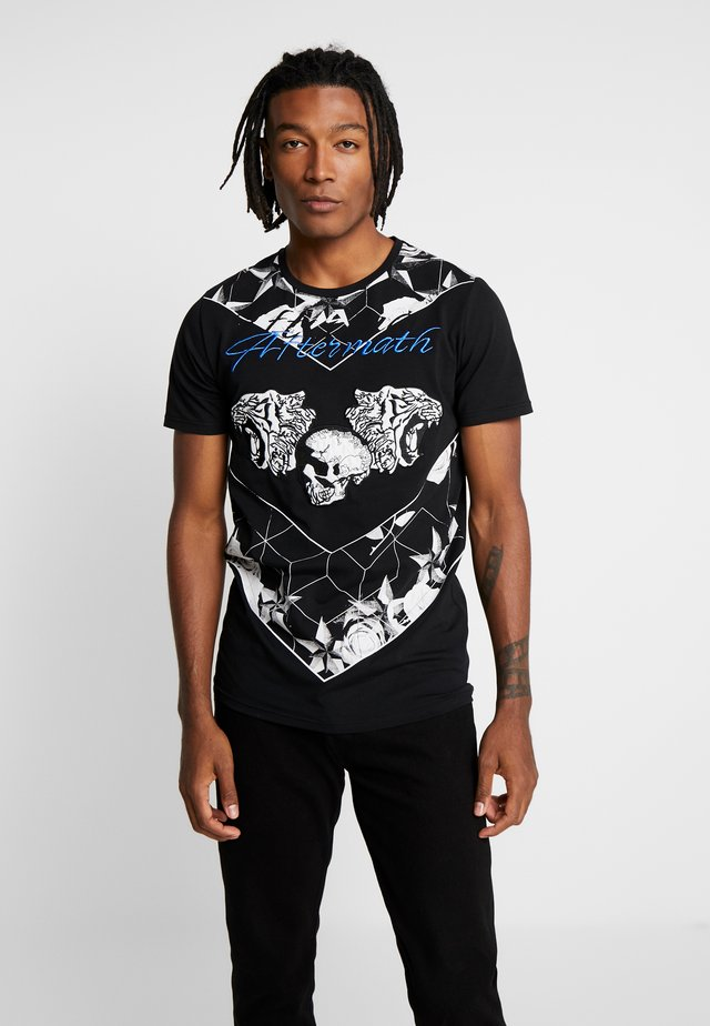 WITH TIGER SKULL PRINT - T-shirt z nadrukiem - black