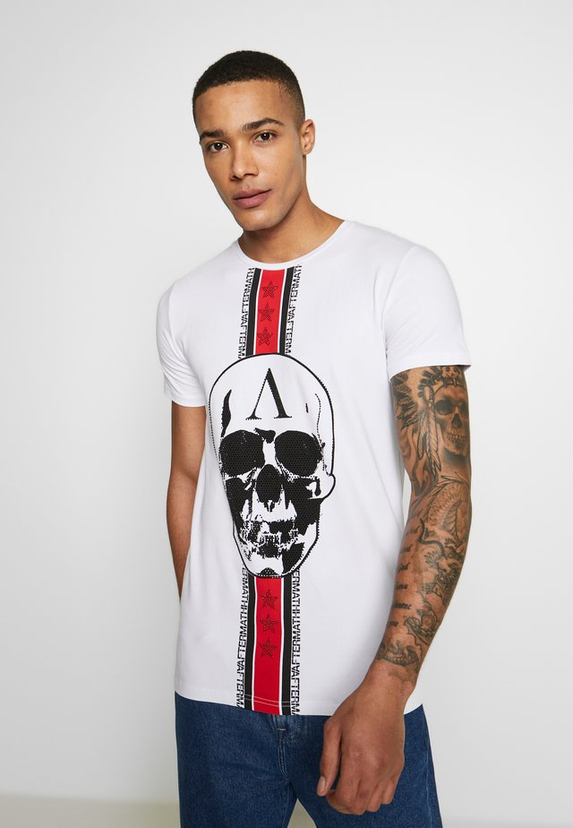 CRYSTAL STUDDED WITH SKULL  - T-Shirt print - white