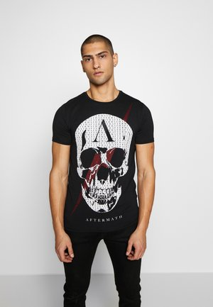 CRYSTAL STUDDED WITH LIGHTNING SKULL - T-shirt con stampa - black