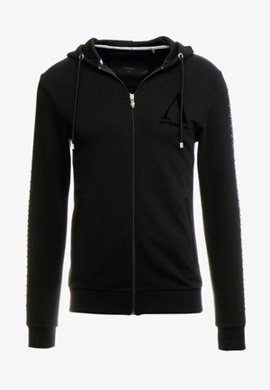 HOODIE WITH SKULLS PRINT - Mikina na zip - black