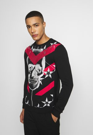 CRYSTAL STUDDED WITH SKULL AND CHEVRON - Sweatshirt - black