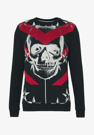 CRYSTAL STUDDED WITH SKULL AND CHEVRON - Mikina - black