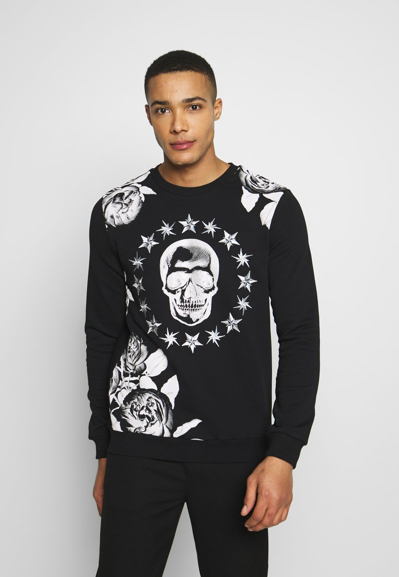 AFTERMATH - CRYSTAL STUDDED WITH SKULL AND STAR - Sweatshirt - black