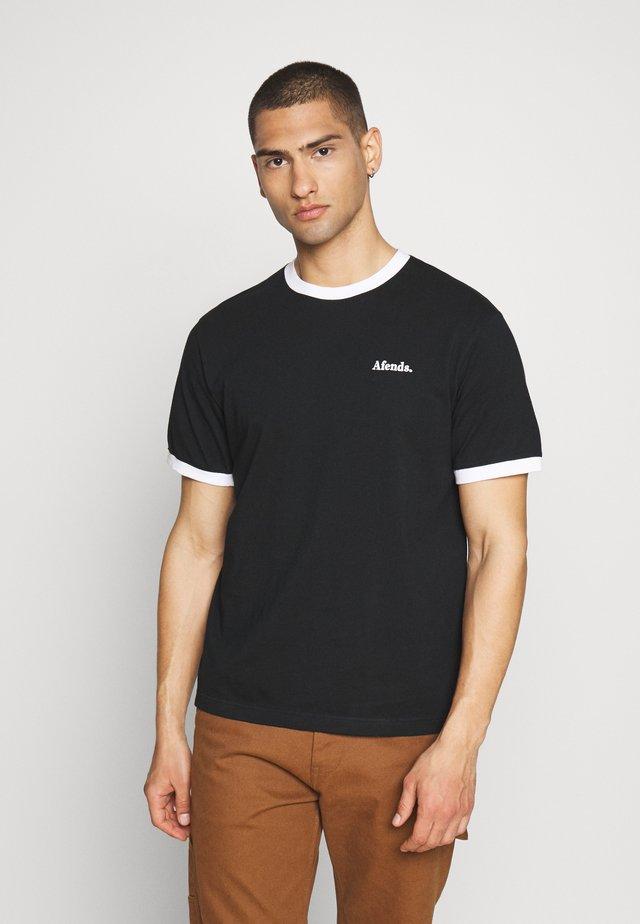 SEVENTIES RETRO RINGER TEE - T-shirt imprimé - black