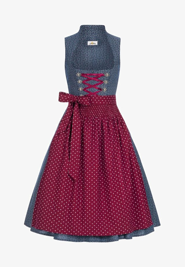 CHRISSI - Dirndl - blue/wine red