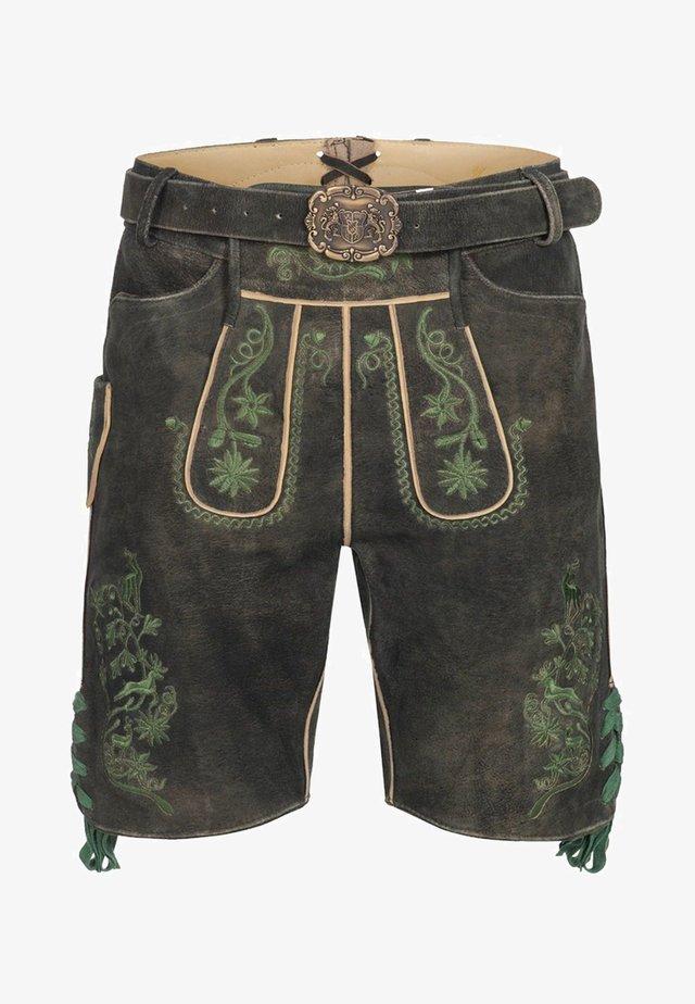BERND - Leather trousers - black