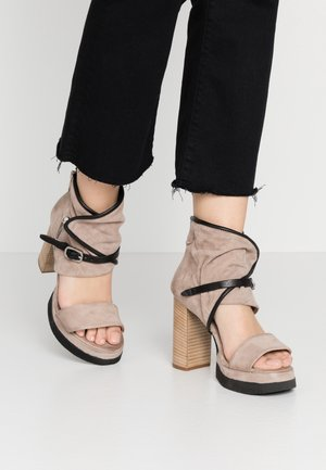 High heeled sandals - dust/nero