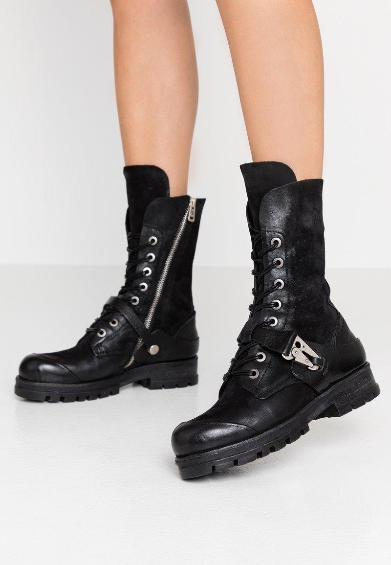 A.S.98 - Šněrovací vysoké boty - nero