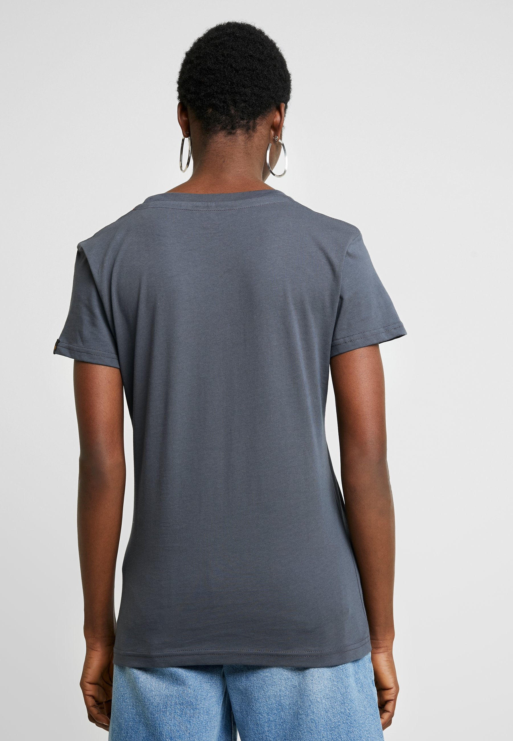 Alpha Industries NEW BASIC - T-shirts med print - grey black/neon pink