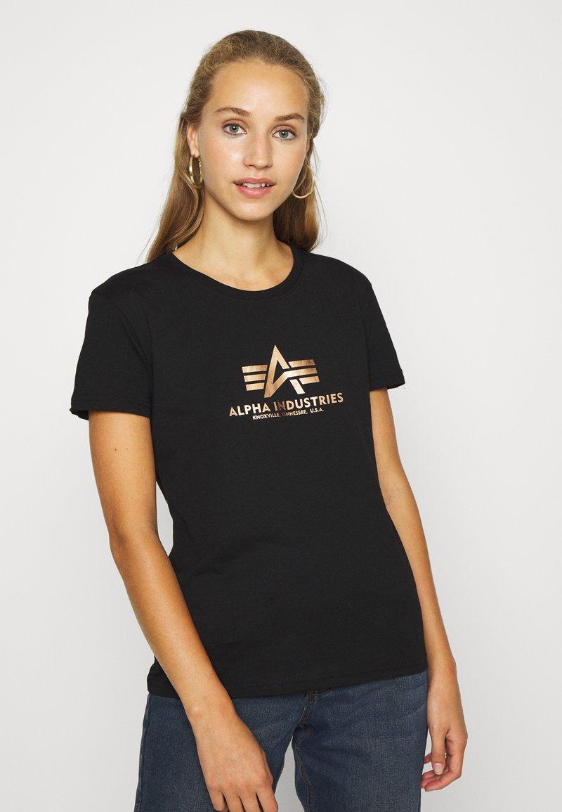 Alpha Industries - NEW FOIL - T-shirt print - black/gold