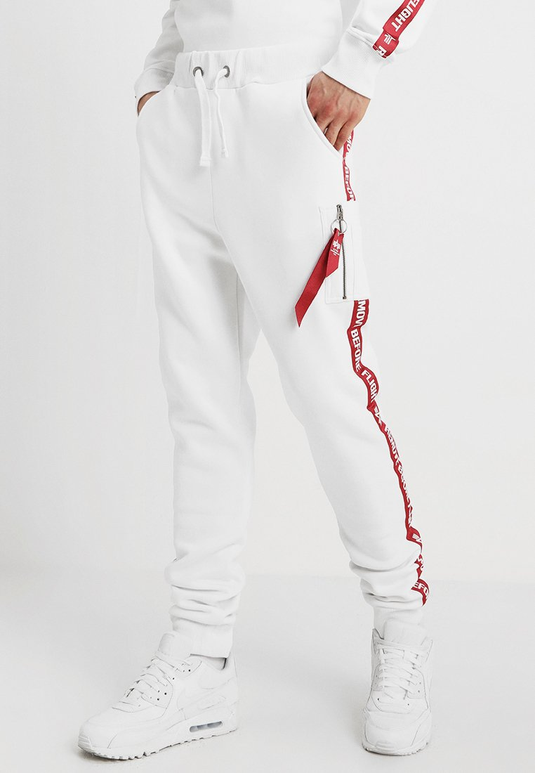 Alpha Industries - JOGGER TAPE - Tracksuit bottoms - white