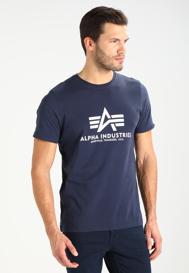 Alpha Industries - BASIC - T-shirts med print - navy