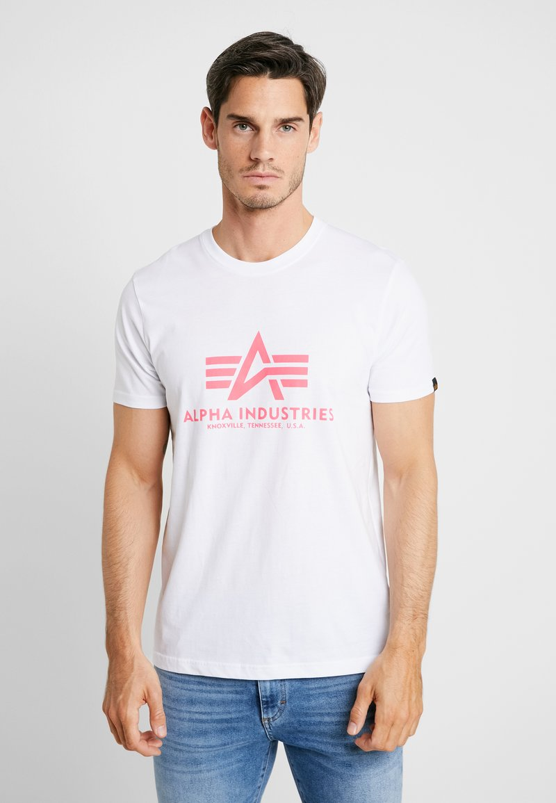 Alpha Industries - BASIC - Print T-shirt - white/ neon pink