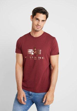 BASIC - T-shirt imprimé - burgundy gold
