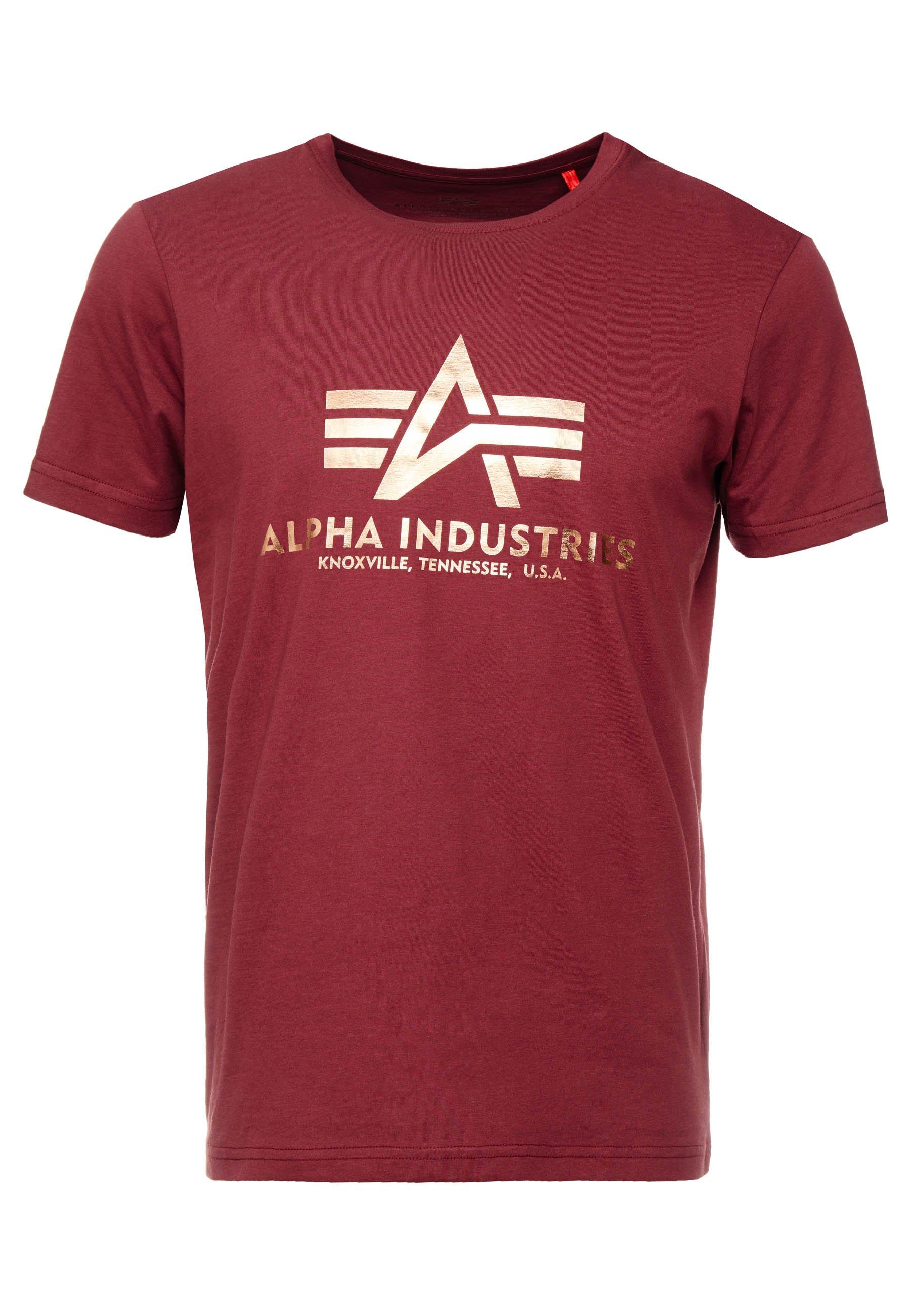 Alpha Industries Basic - T-shirt Imprimé Burgundy Gold