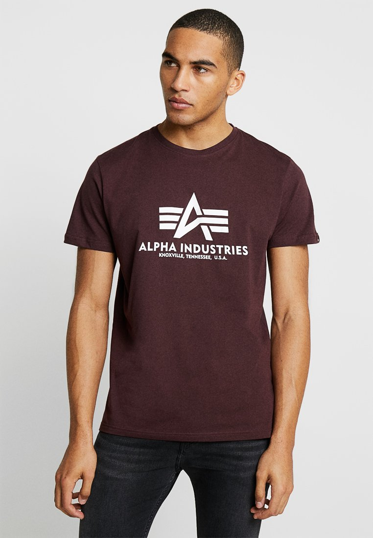 Alpha Industries - BASIC - T-Shirt print - deep maroon