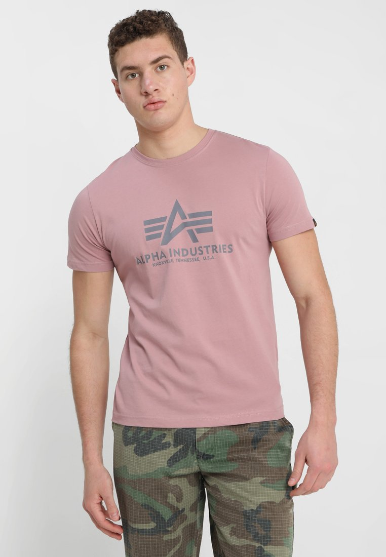 Alpha Industries - BASIC - Print T-shirt - silver/pink