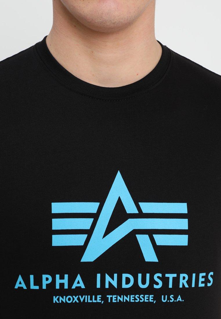 Alpha Industries BASIC - T-shirt z nadrukiem - black/blue