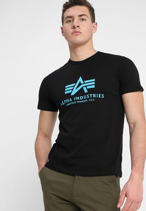 BASIC - T-shirt print - black/blue