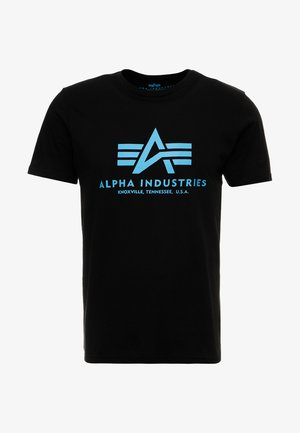 BASIC - T-shirt med print - black/blue