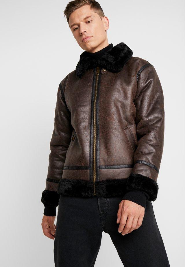 Imitatieleren jas - dark brown