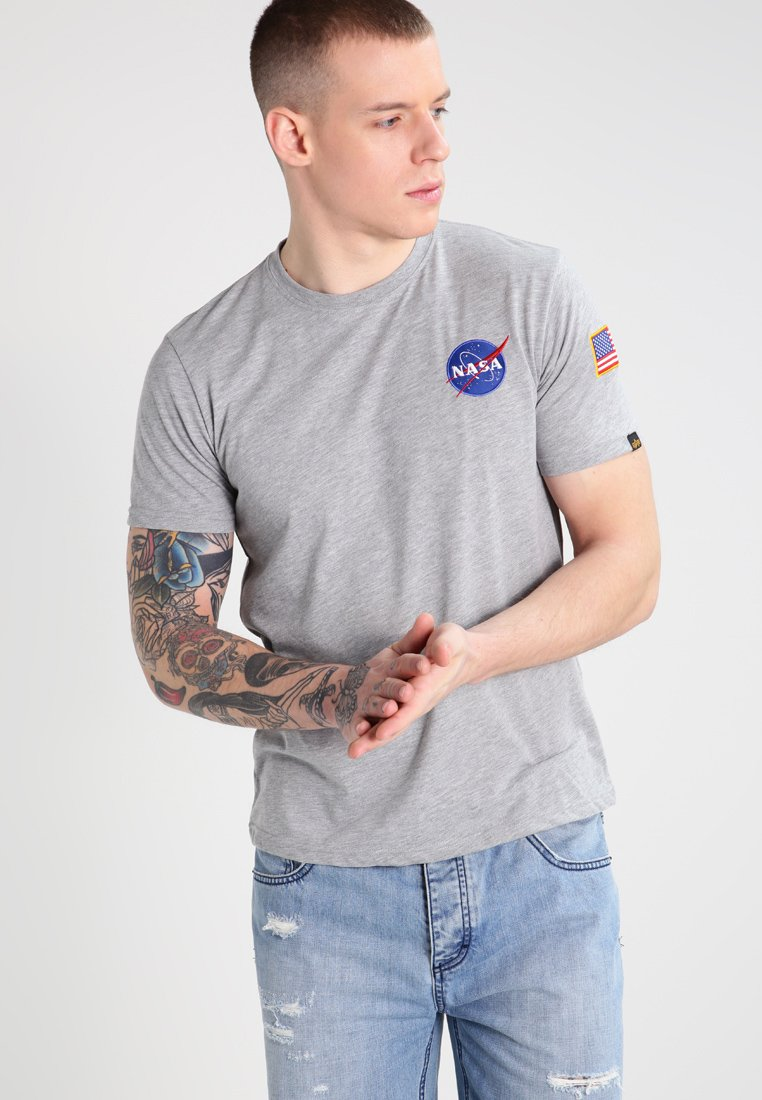 Alpha Industries - SPACE SHUTTLE - Print T-shirt - grey heather