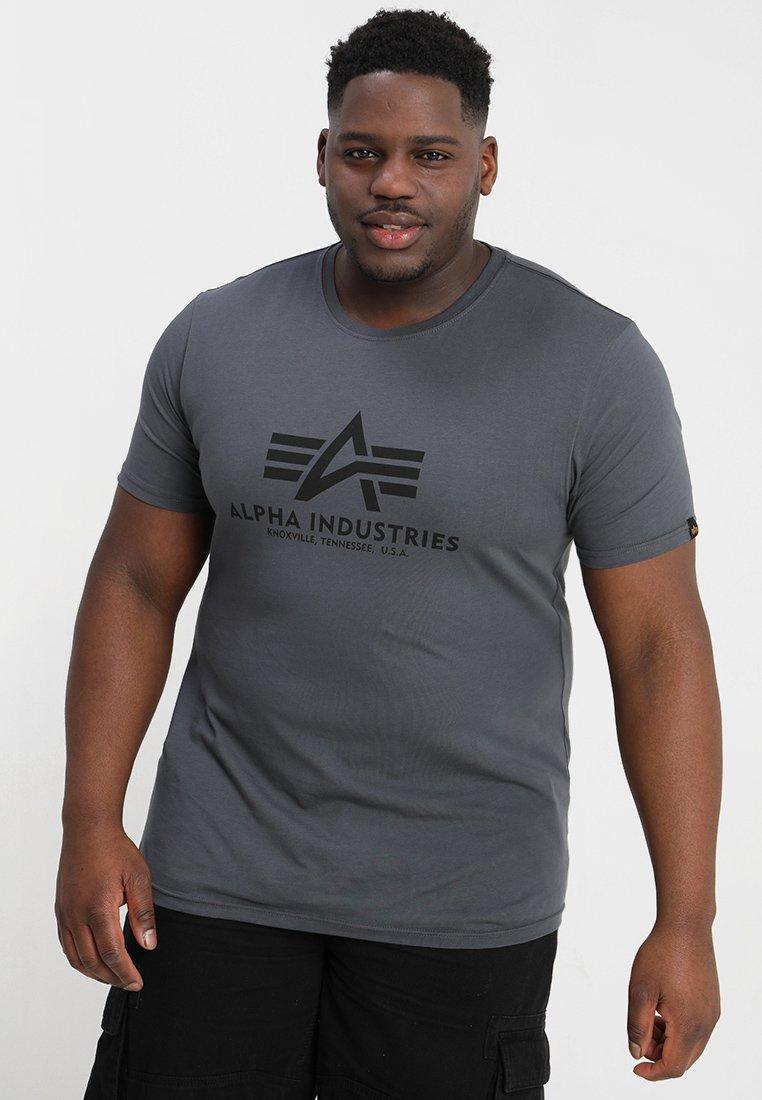 Alpha Industries BASIC - T-shirt z nadrukiem - grey black