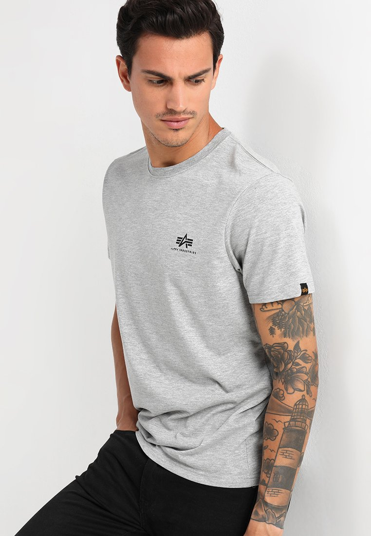 Alpha Industries - BASIC TEE SMALL LOGO - Basic T-shirt - grey heather