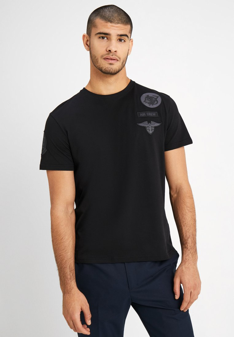 Alpha Industries - AIR CREW - Printtipaita - black