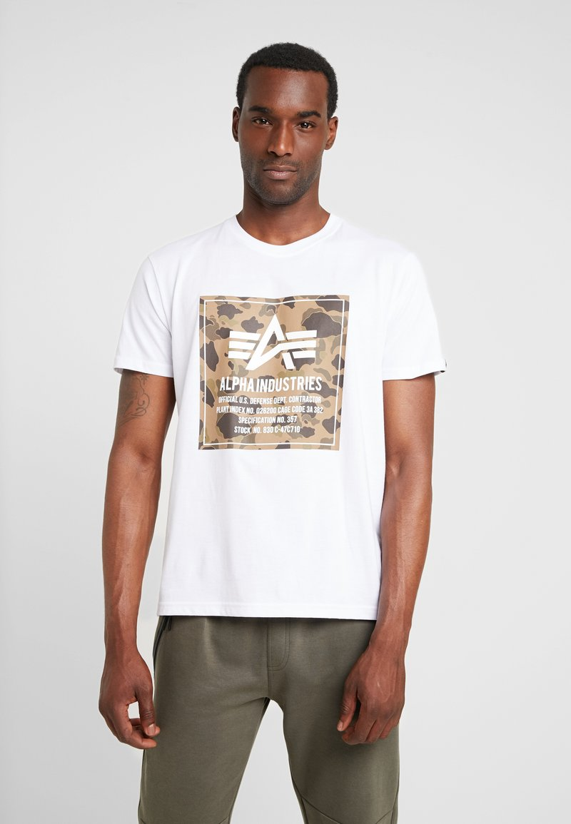 Alpha Industries - BLOCK TEE - T-Shirt print - white