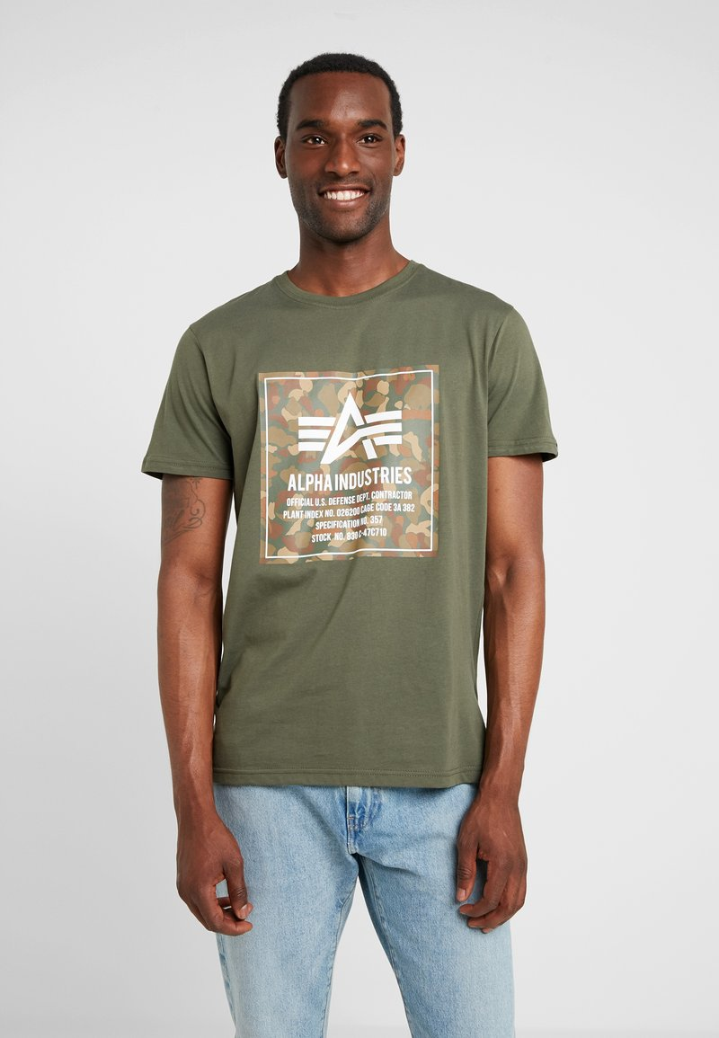 Alpha Industries - BLOCK TEE - T-Shirt print - dark olive