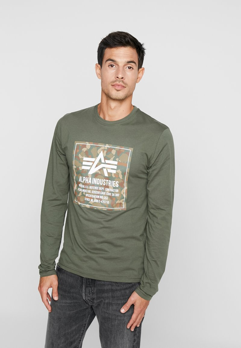Alpha Industries - CAMO BLOCK  - Long sleeved top - dark olive