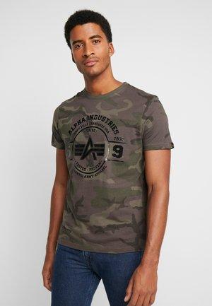 T-shirt med print - dark olive
