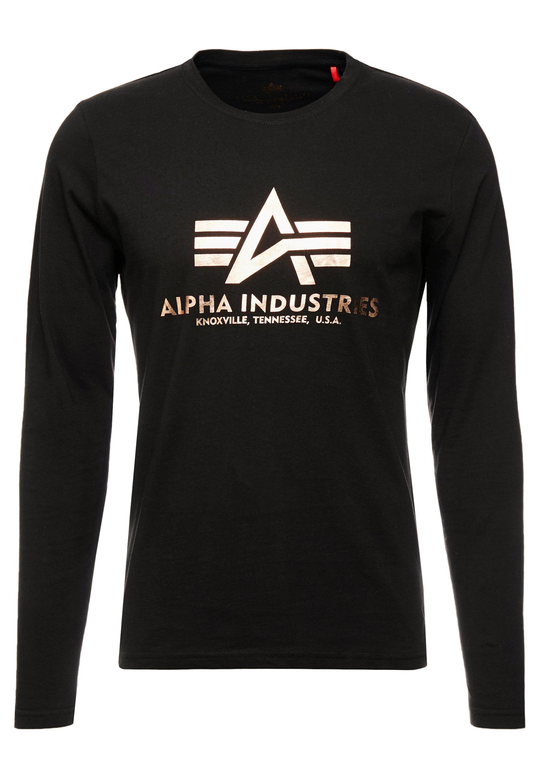 Alpha Industries BASIC - Bluzka z długim rękawem - black/gold