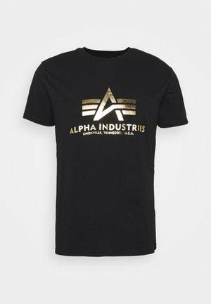 BASIC FOIL - T-shirt print - black/yellow gold