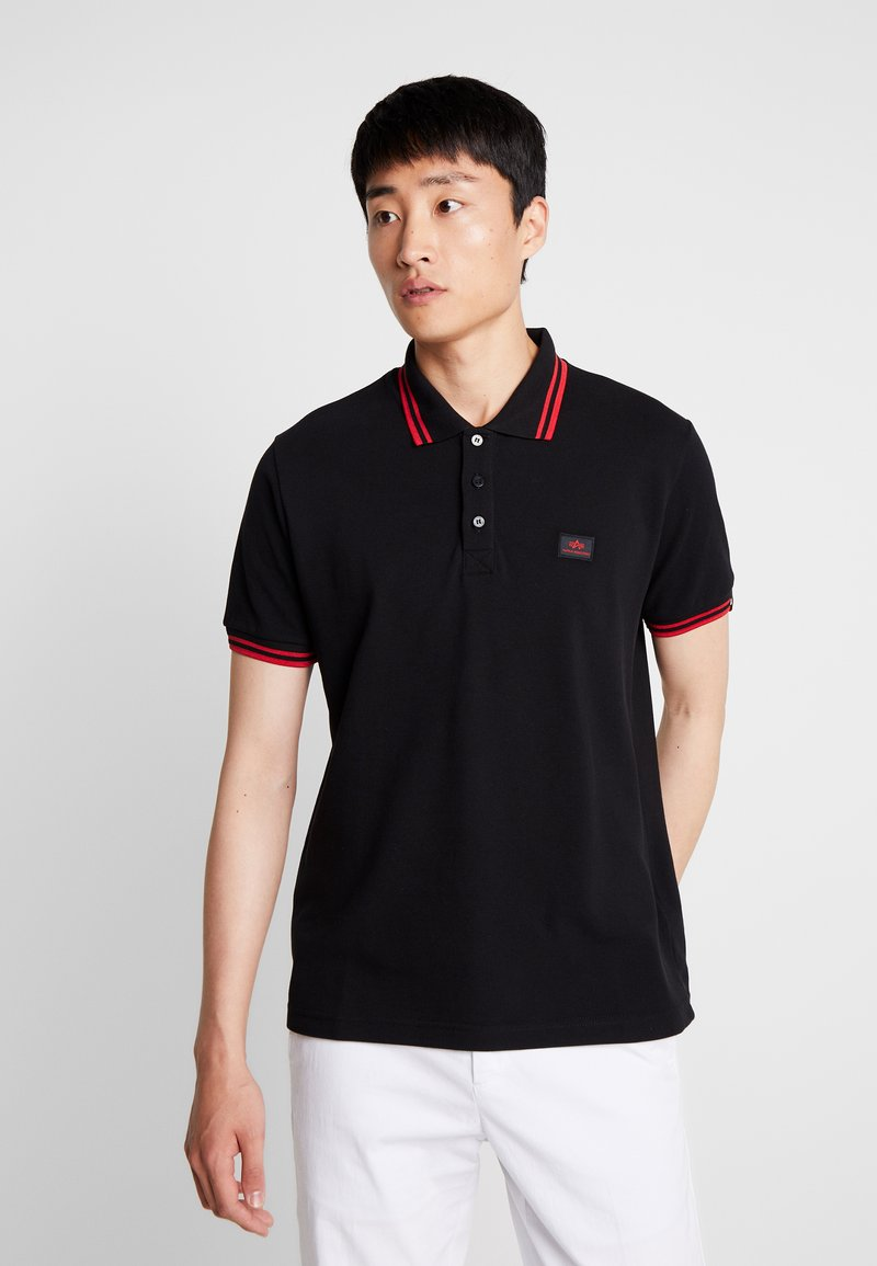 Alpha Industries - TWIN STRIPE NEW - Polo - black/red