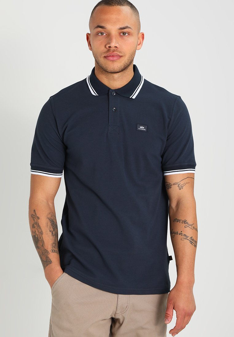 Alpha Industries - TWIN STRIPE NEW - Polo shirt - navy/white