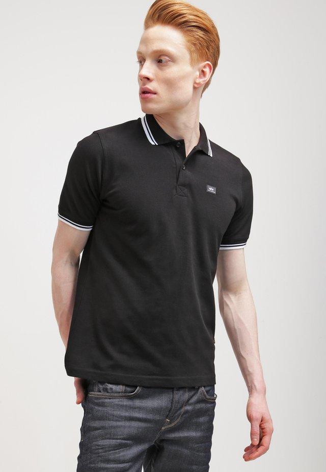TWIN STRIPE NEW - Koszulka polo - black/white