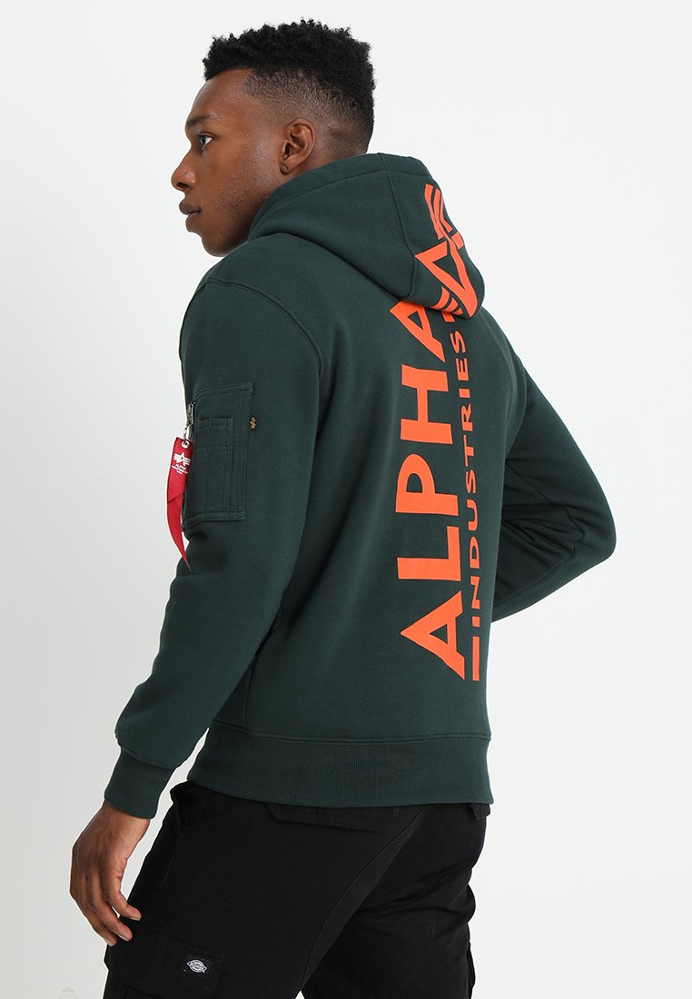 Alpha Industries - BACK PRINT HOODY - Sweat à capuche - petrol