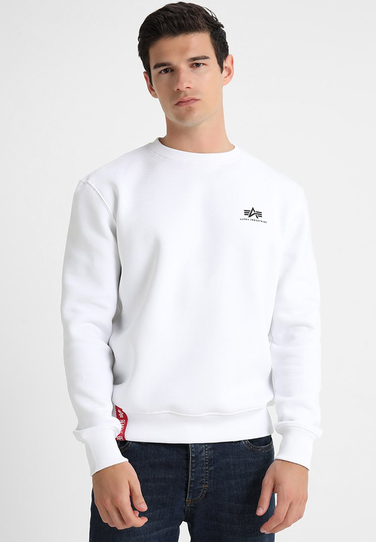 Alpha Industries - BASIC SMALL LOGO - Sweatshirt - white