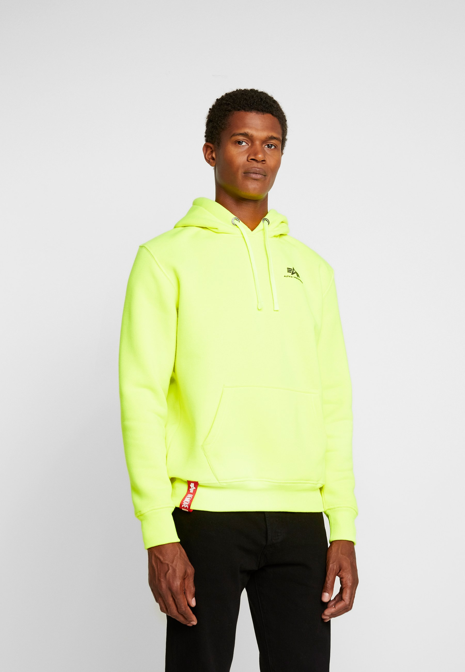 À Basic Alpha Capuche Industries Small Yellow LogoSweat Hoody Neon 8Z0knwPXNO